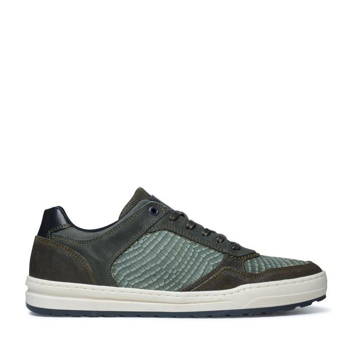 Baskets en cuir basses avec motif croco - vert