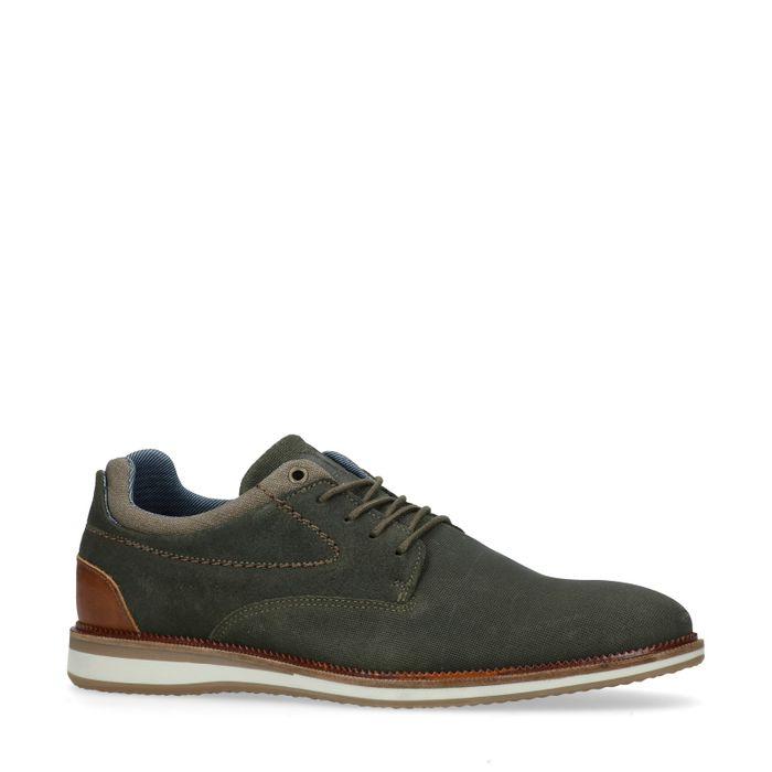 Chaussures à lacets en cuir - vert kaki