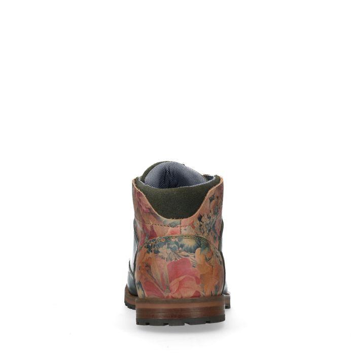 Boots à lacets en cuir avec imprimé fleuri - vert