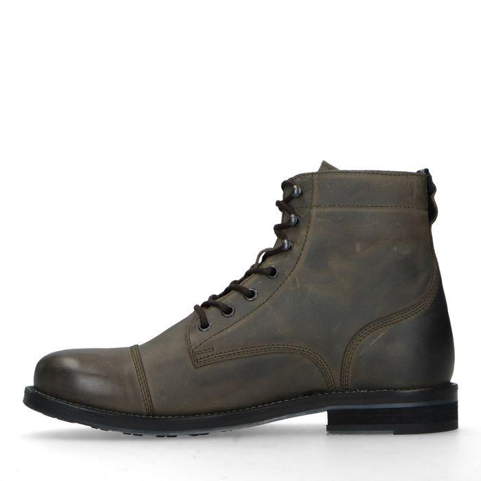 Boots à lacets en cuir - kaki