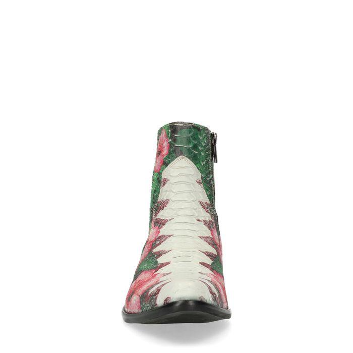 Bottines en cuir basses avec imprimé fleuri - multicolore