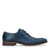 Chaussures à lacets en cuir avec broderies - bleu