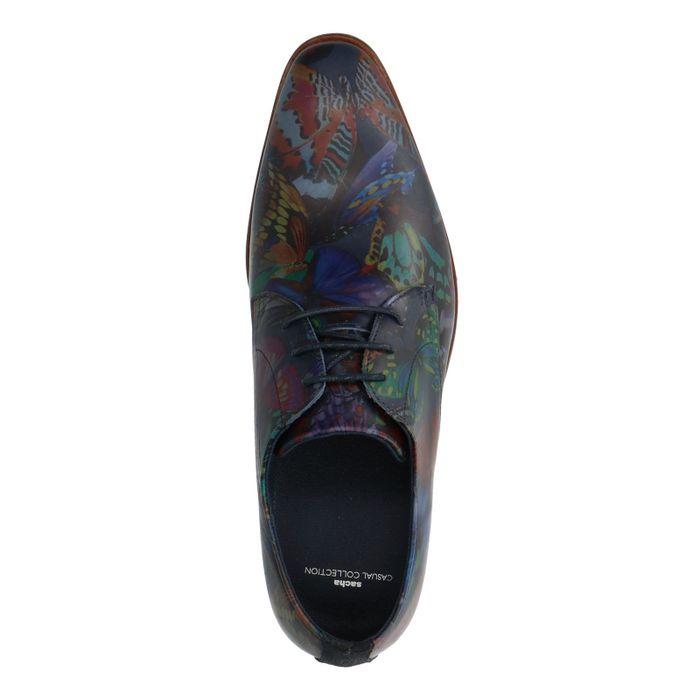 Chaussures à lacets en cuir avec imprimé papillon - multicolore