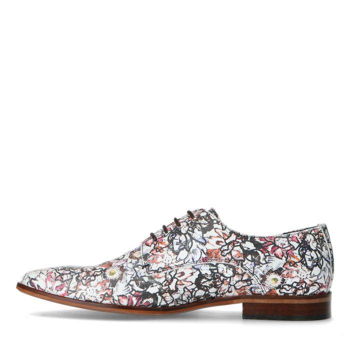 Chaussures à lacets en cuir avec imprimé coloré