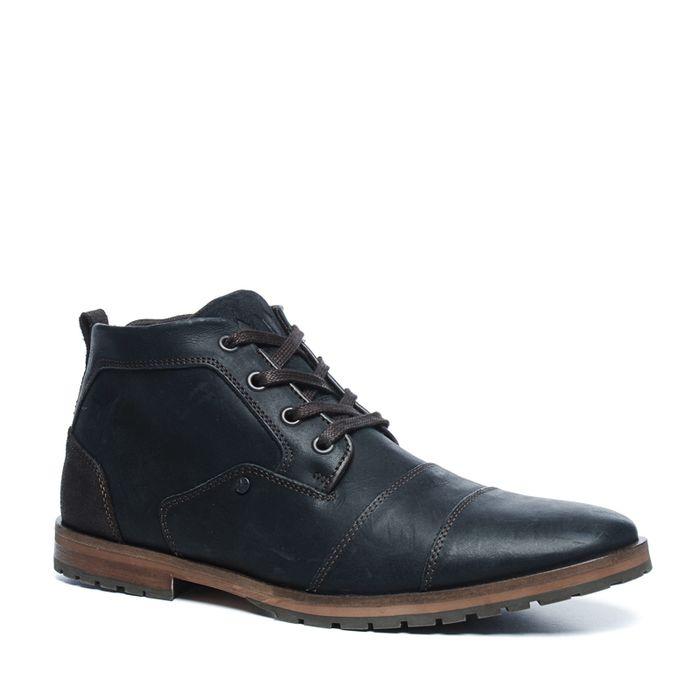 Chaussures à lacets montantes en cuir - noir