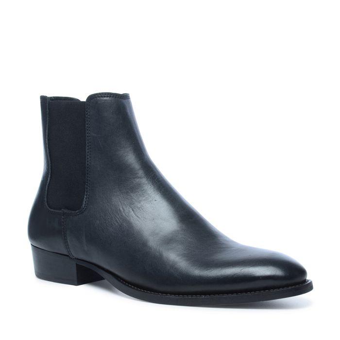 Chelsea boots en cuir avec bout pointu - noir