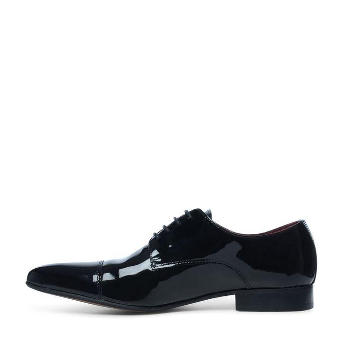 Chaussures à lacets en cuir verni - noir