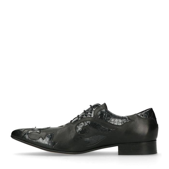 Chaussures à lacets en cuir avec flammes - noir