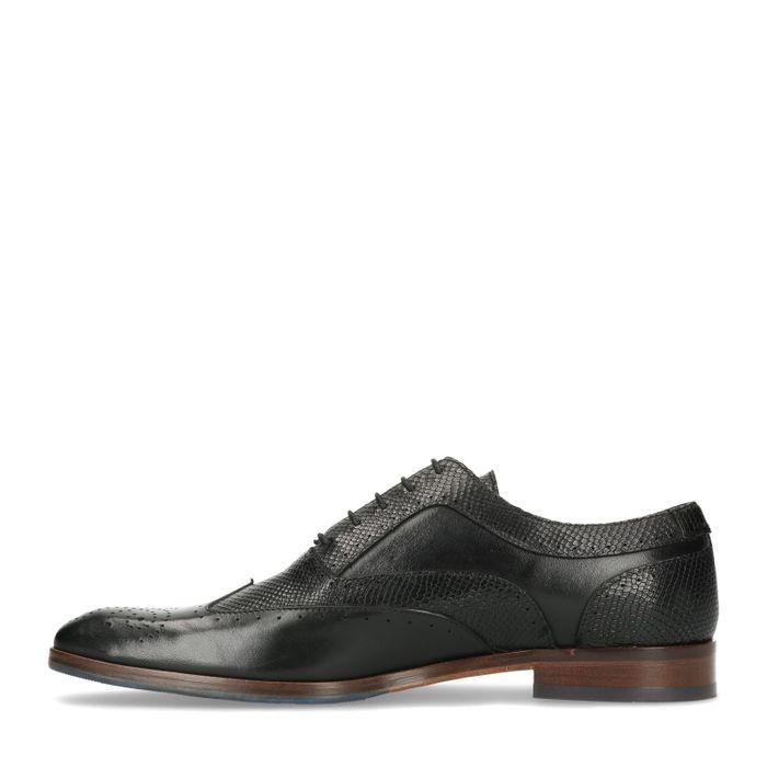 Chaussures à lacets en cuir avec imprimé serpent - noir