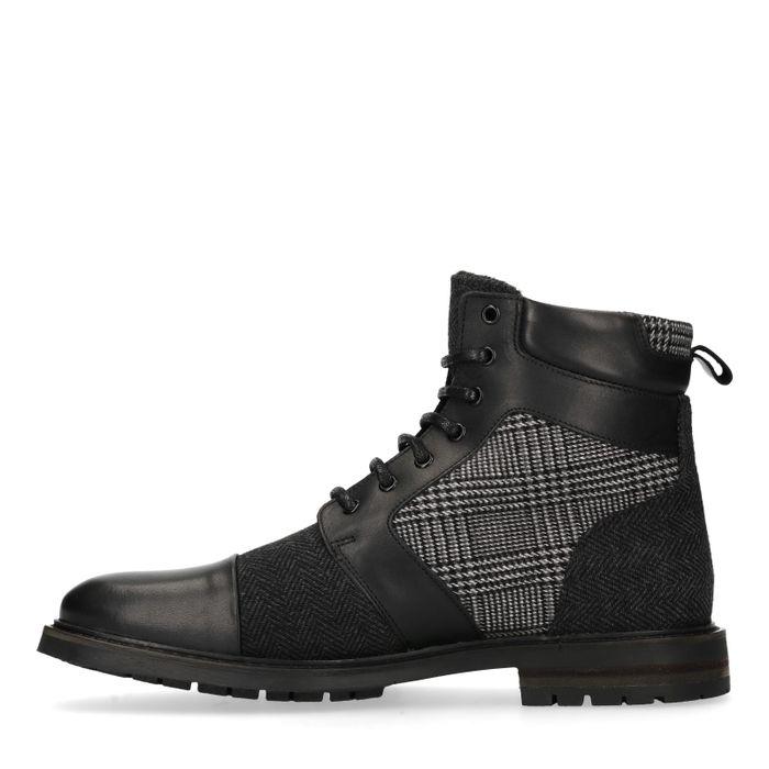 Boots à lacets en cuir avec imprimé - noir