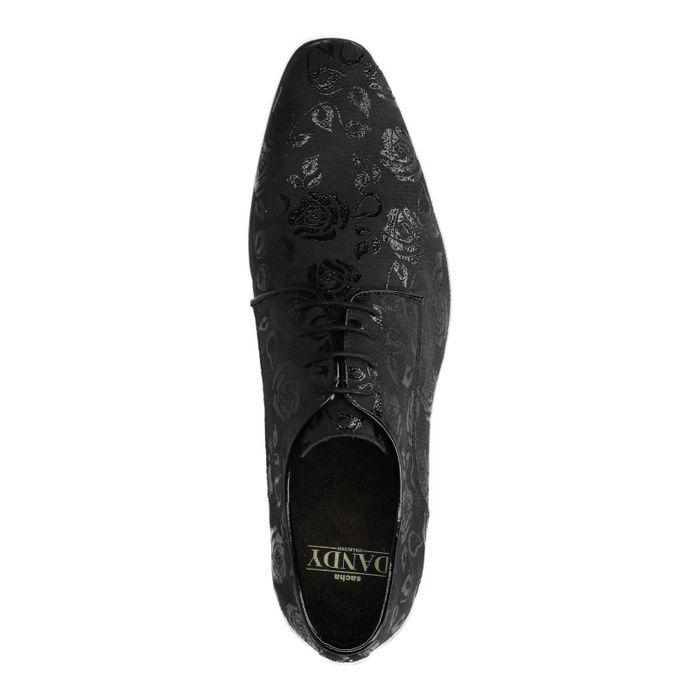Chaussures à lacets en cuir avec imprimé fleuri - noir