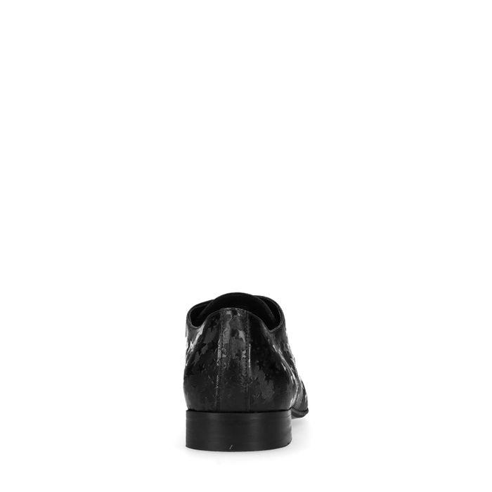 Chaussures à lacets en cuir avec étoiles - noir