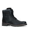 Boots à lacets en cuir avec fermeture éclair - noir