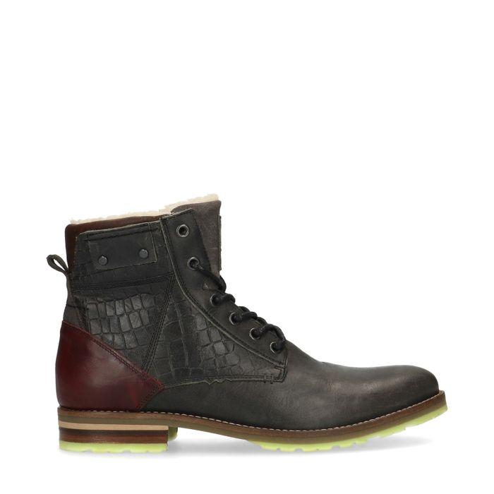 Boots à lacets en cuir avec imprimé serpent - marron