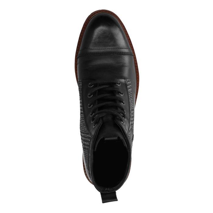 Boots à lacets en cuir avec motif à carreaux - noir