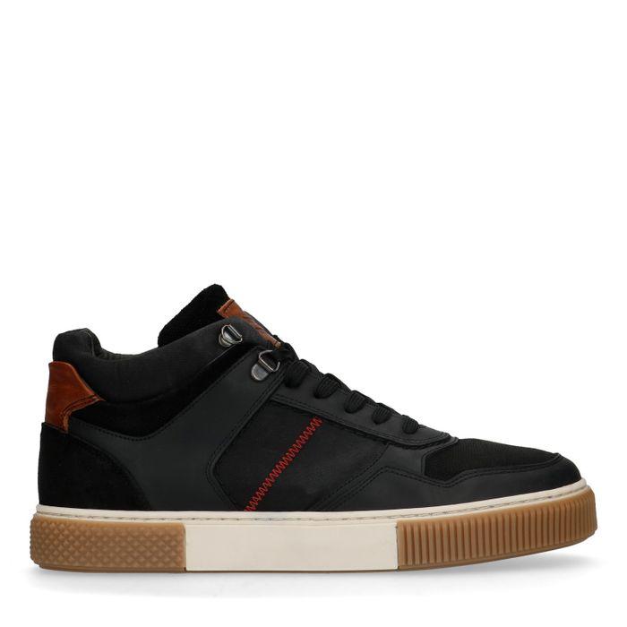 Baskets montantes en cuir - noir