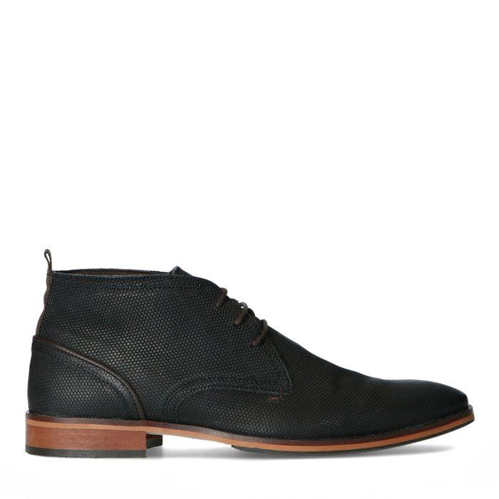 Boots à lacets en cuir avec motif - noir