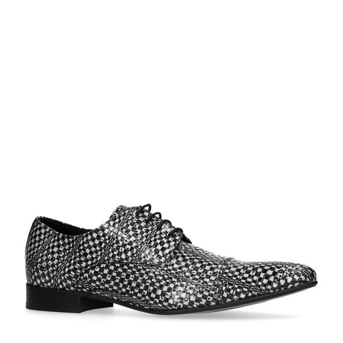 Chaussures à lacets en cuir avec motif - noir