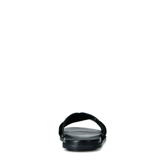Claquettes en cuir avec brides croisées - noir