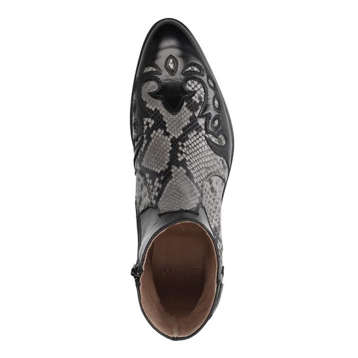 Santiags en cuir avec imprimé serpent - noir