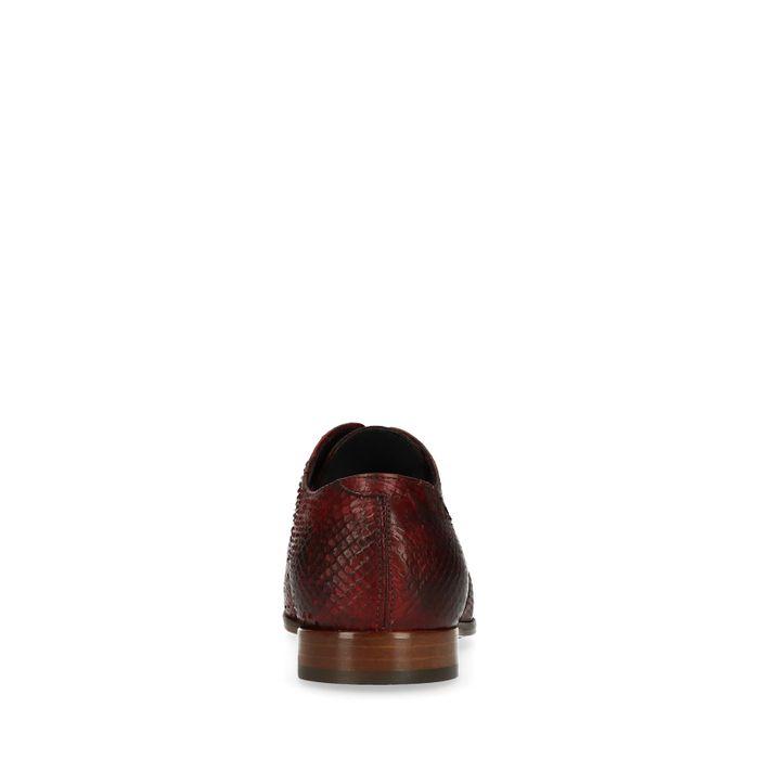 Chaussures à lacets avec imprimé serpent - marron foncé