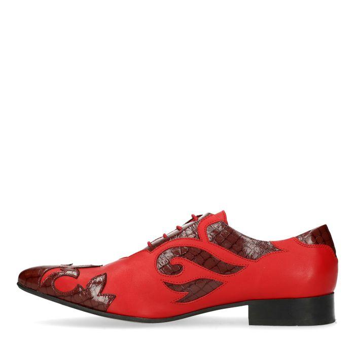 Chaussures à lacets en cuir avec flammes - rouge