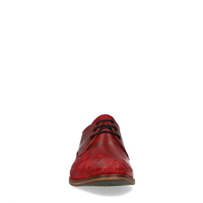 Chaussures à lacets en cuir avec broderies - rouge