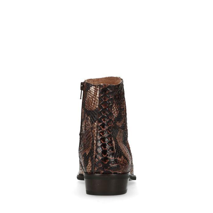 Boots en cuir avec imprimé serpent