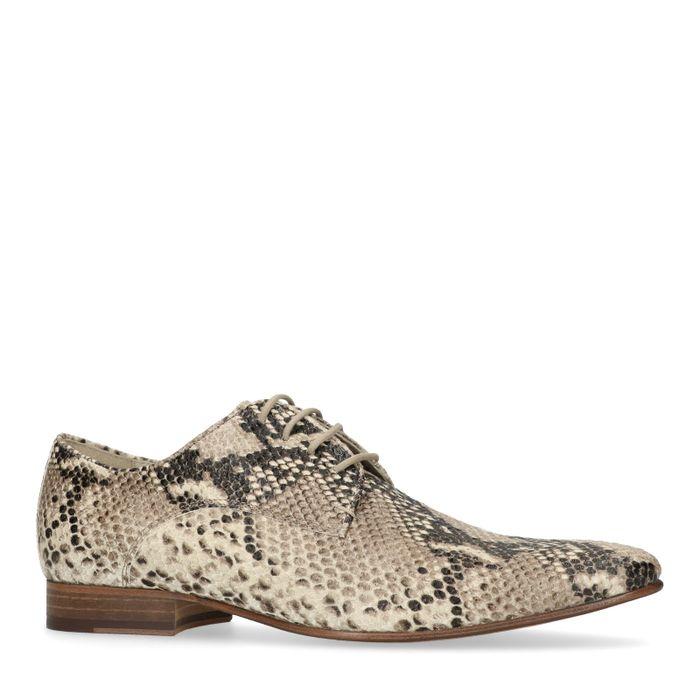 Chaussures à lacets en cuir imprimé serpent - beige
