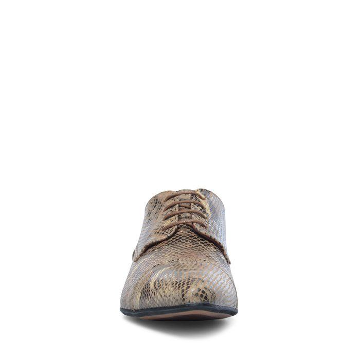 Chaussures à lacets en cuir avec imprimé serpent - taupe