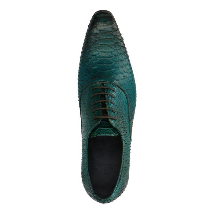 Chaussures à lacets en cuir avec imprimé serpent - vert foncé