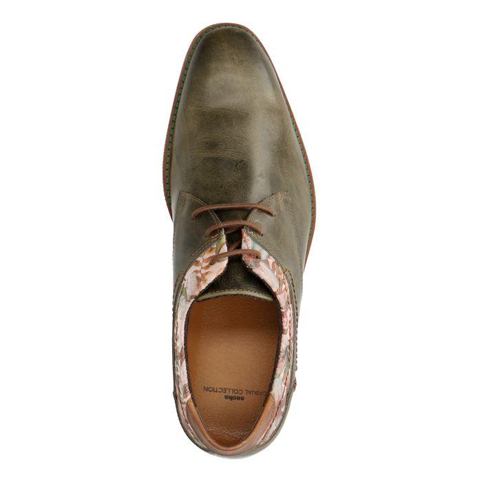 Chaussures à lacets en cuir avec imprimé fleuri - vert
