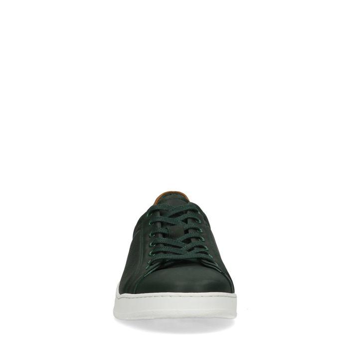 Baskets basses en cuir - vert foncé