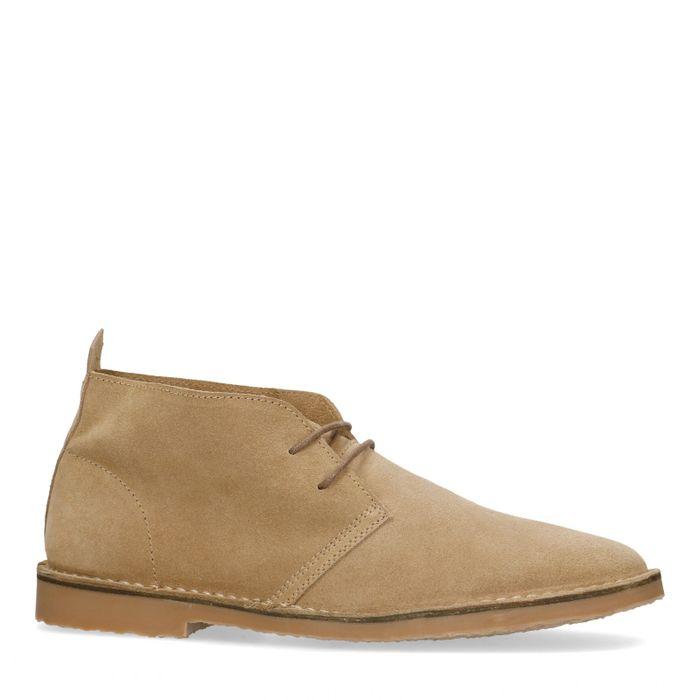 Boots à lacets en daim - beige