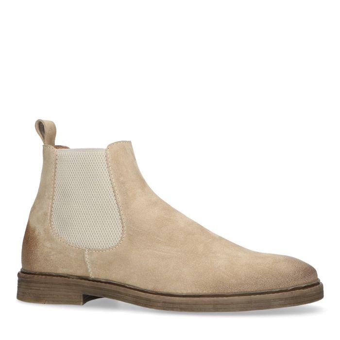 Chelsea boots en daim - beige