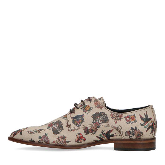 Chaussures à lacets en daim avec imprimé tattoo