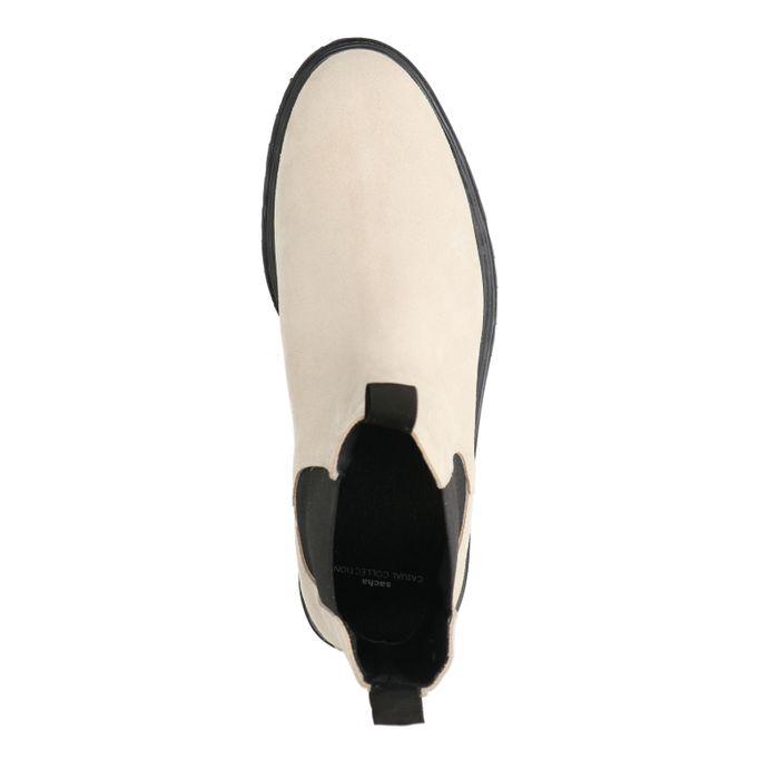 Chelsea boots en daim - blanc cassé