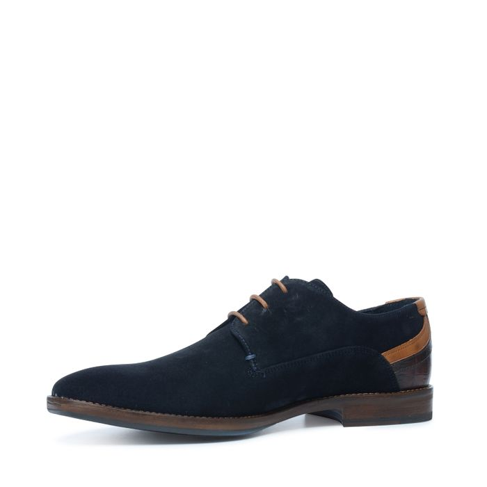 Chaussures á lacets bleues en daim avec contrefort