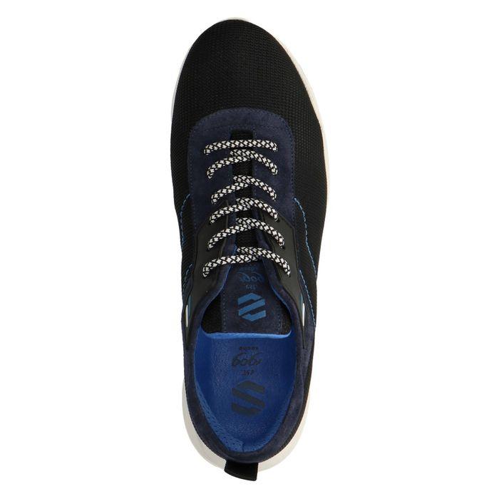 Baskets en daim basses avec détails - noir