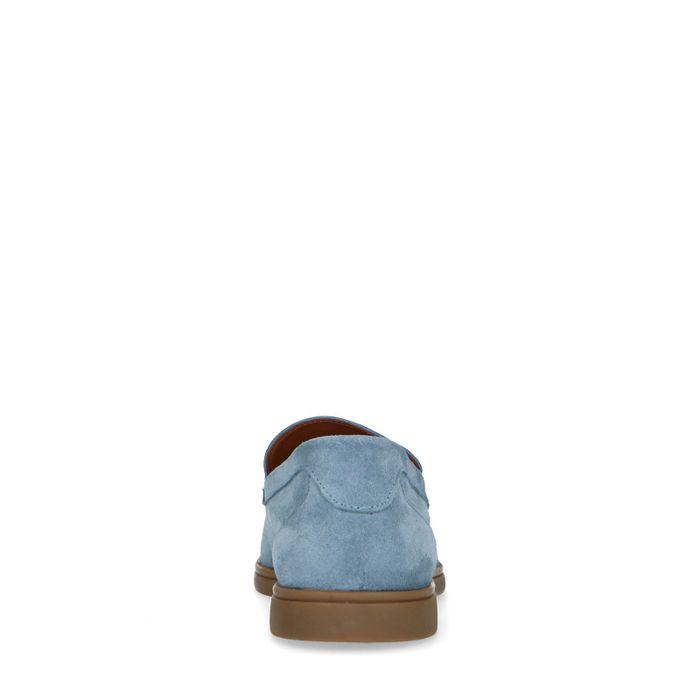 Mocassins en daim - bleu clair