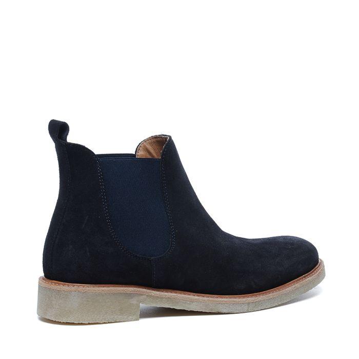 Chelsea boots basses en daim - bleu foncé
