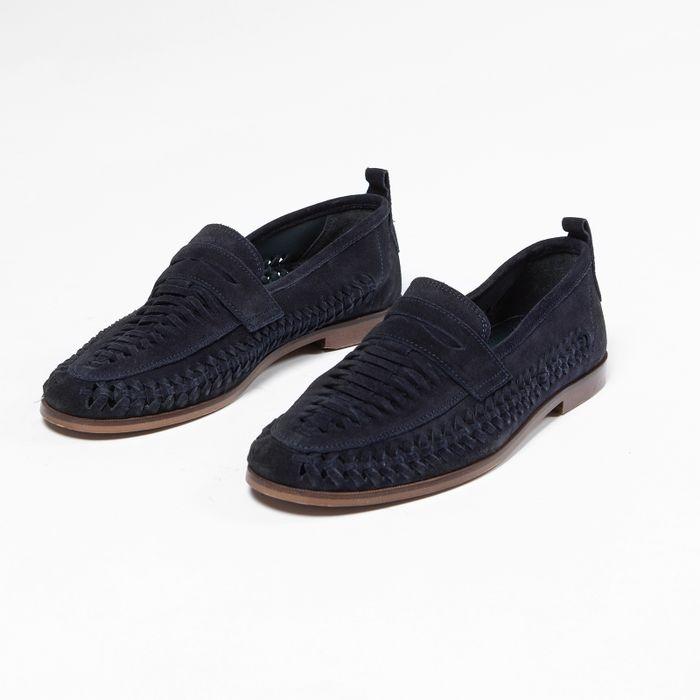 Mocassins en daim avec détail tressé - bleu foncé