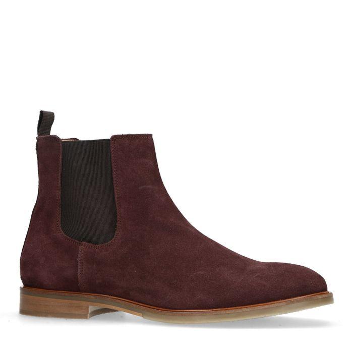 Chelsea boots en daim - bordeaux