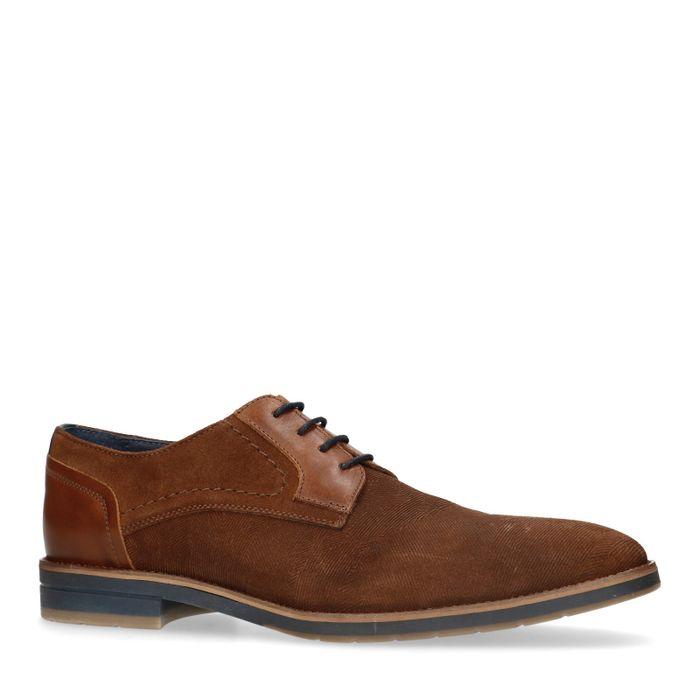 Chaussures à lacets en daim avec motif - marron