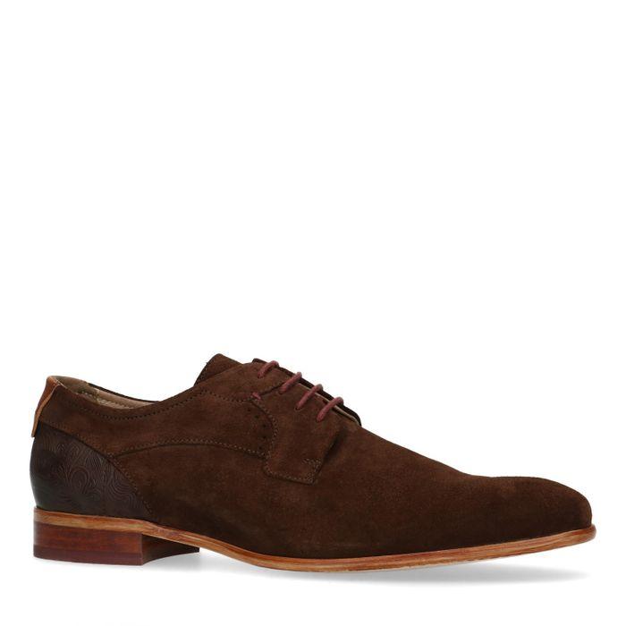 Chaussures à lacets en daim avec petit motif - marron foncé