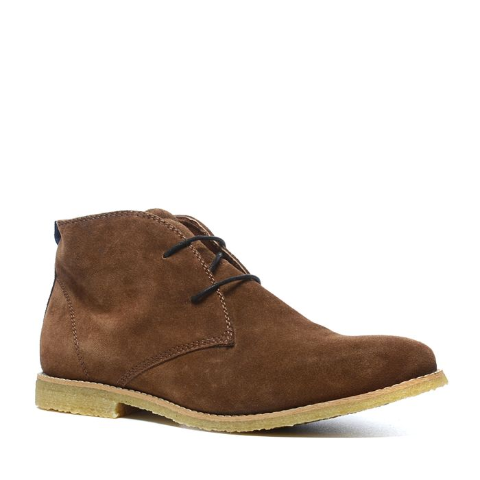 Desert boots montantes en daim - camel