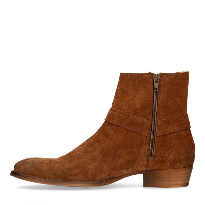 Chelsea boots en daim avec boucle - marron