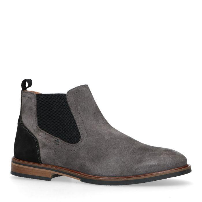 Chelsea boots en daim - gris