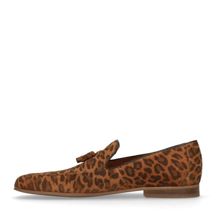 Mocassins en daim avec imprimé léopard