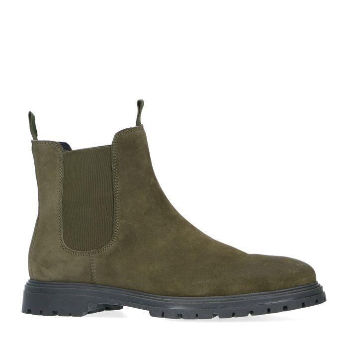Chelsea boots en daim avec semelle noire - kaki